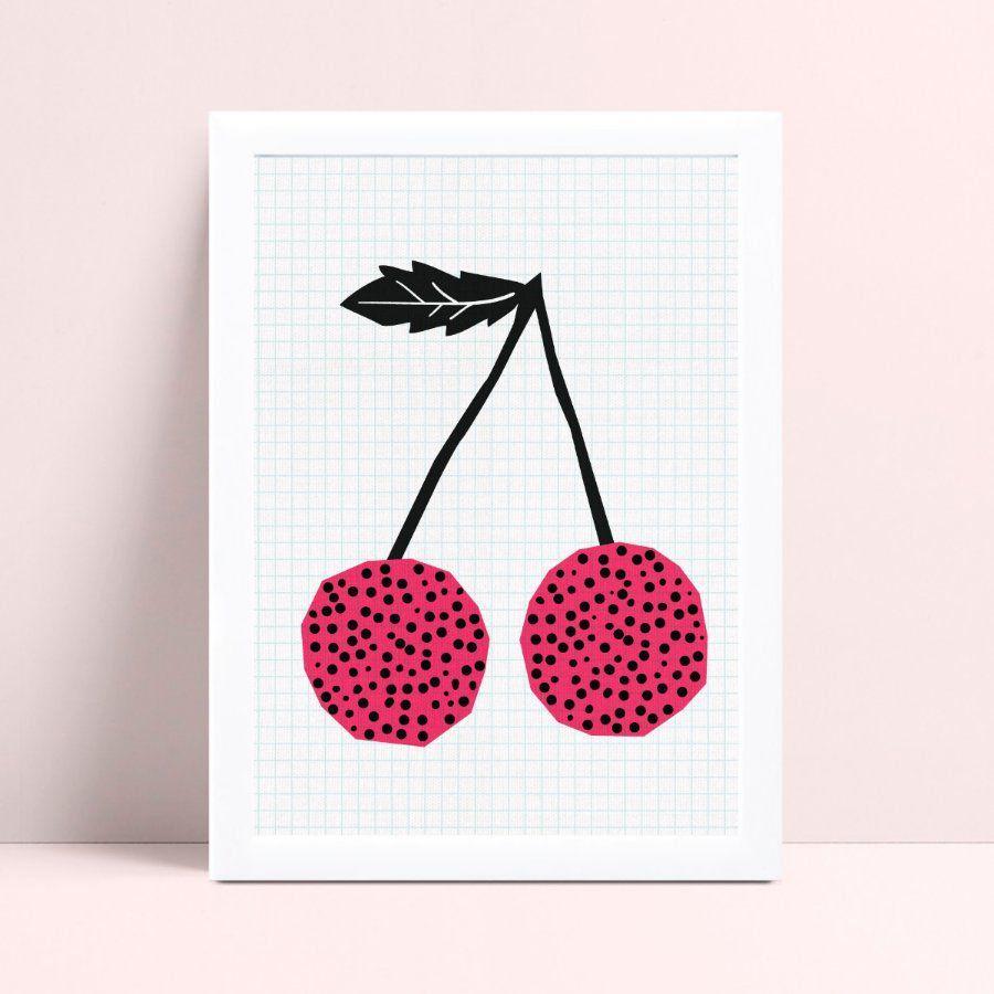 Poster infantil menina desenho cerejas