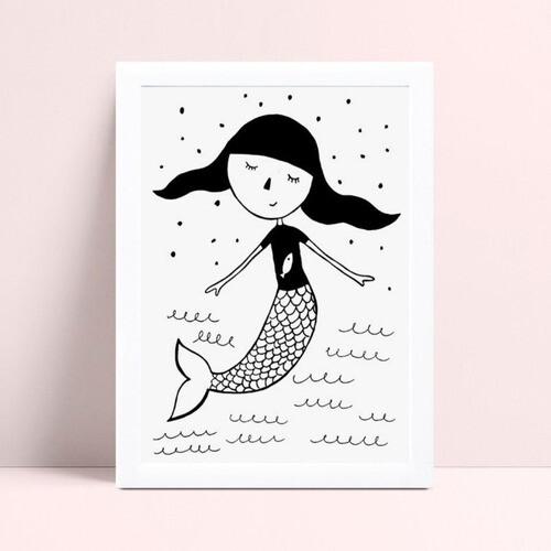 Poster infantil menina desenho sereia p&b