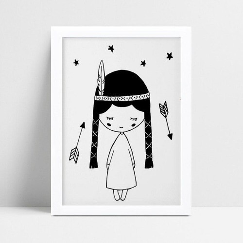 Poster infantil menina índia flechas p&b
