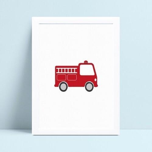 Poster infantil menino caminhão bombeiro vermelho
