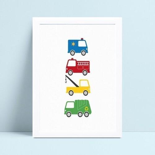 Poster infantil menino carrinhos policia bombeiro coloridos