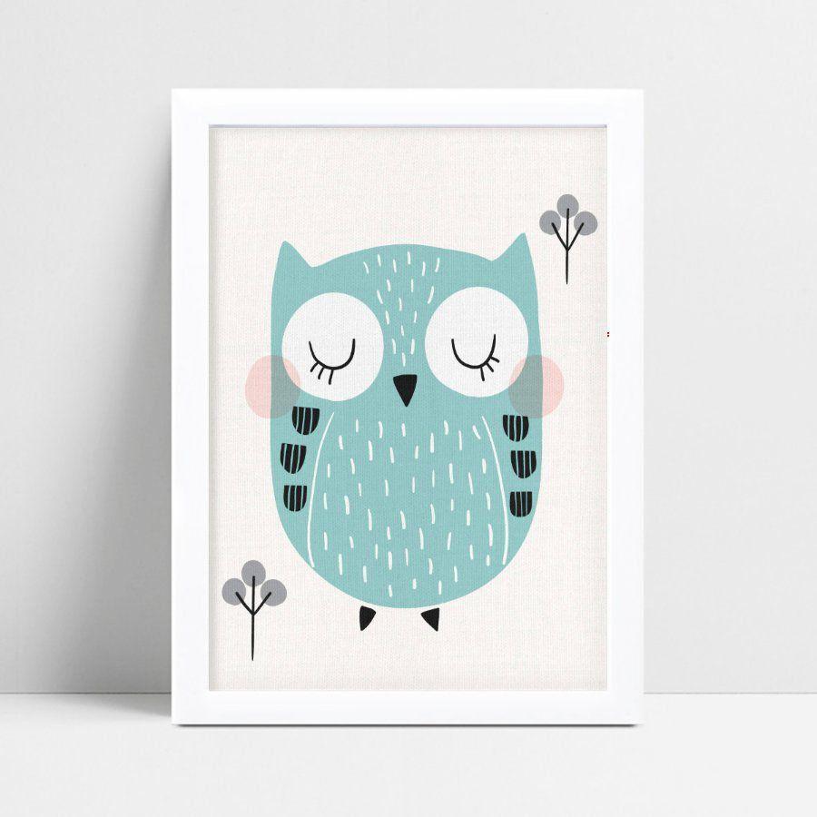 Poster infantil menino coruja verde