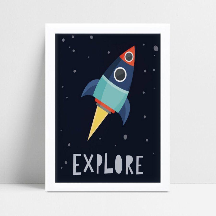 Poster infantil menino foguete colorido céu estrelado