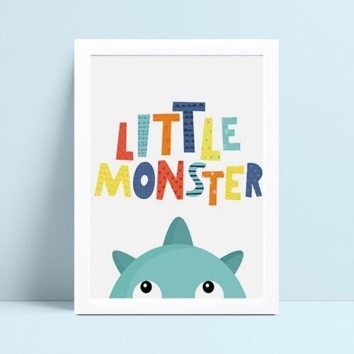 Poster infantil menino monstro azul espiando
