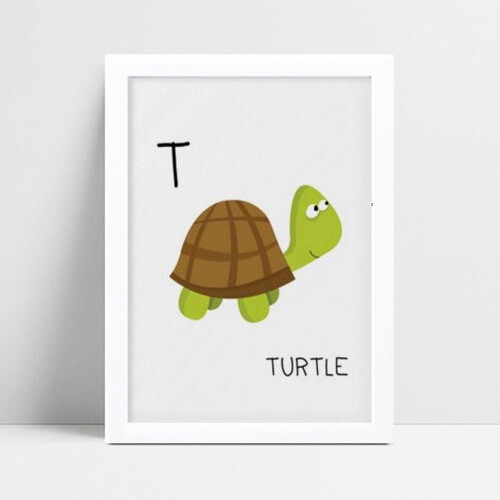 Poster infantil menino tartaruga inicial alfabeto