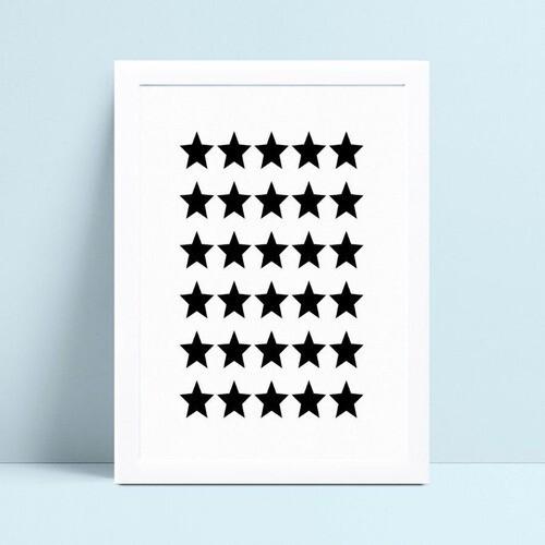 Poster infantil quadro estrelas pretas