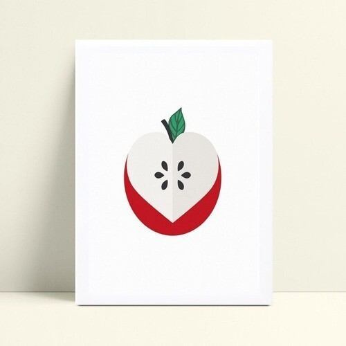 Poster infantil quadro maçã fruta cozinha