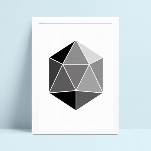 Poster infantil quadro polígono cinza