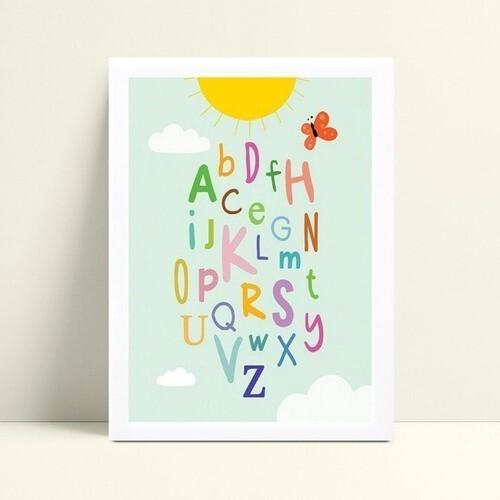 Poster infantil quadro sol amarelo alfabeto colorido