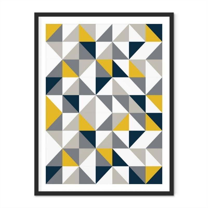 Quadro com Moldura Abstrato Geométrico Triângulos