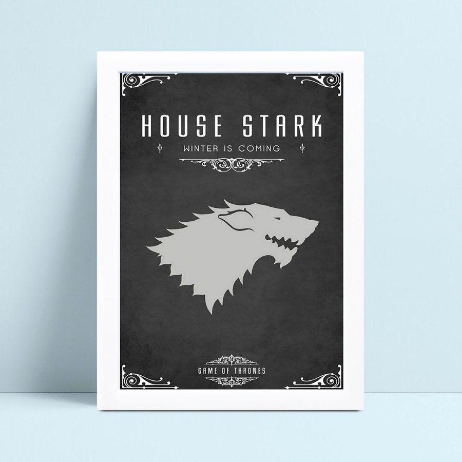 Quadro com moldura game of thrones stark heroi