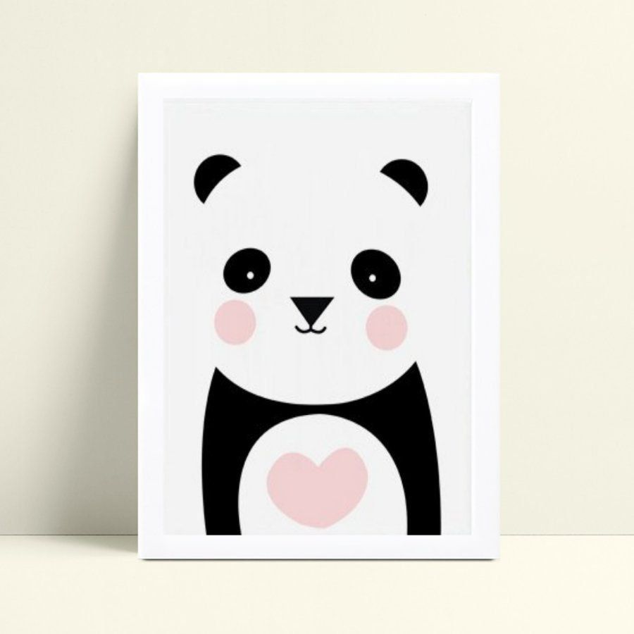 Quadro com moldura menina panda animal