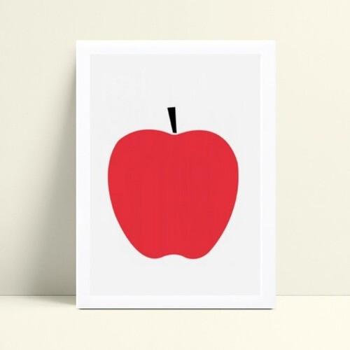 Quadro decoração cozinha maçã vermelha