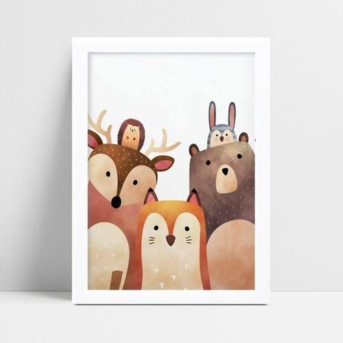 quadro decoração de quarto infantil animais safári
