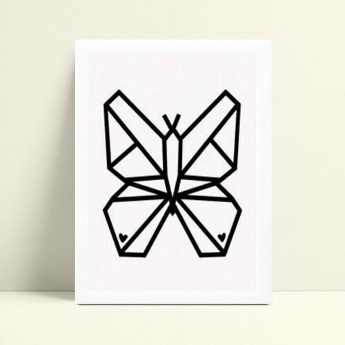 quadro decoração de quarto infantil borboleta geométrico
