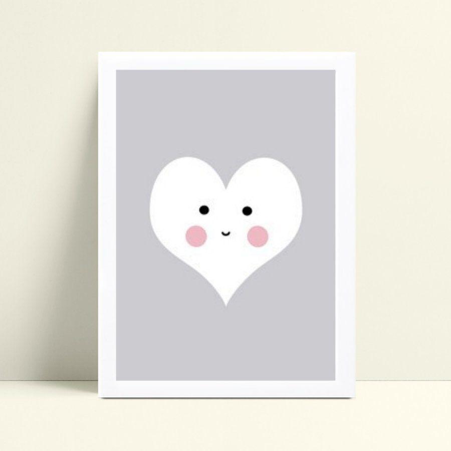 quadro decoração de quarto infantil cinza coração branco