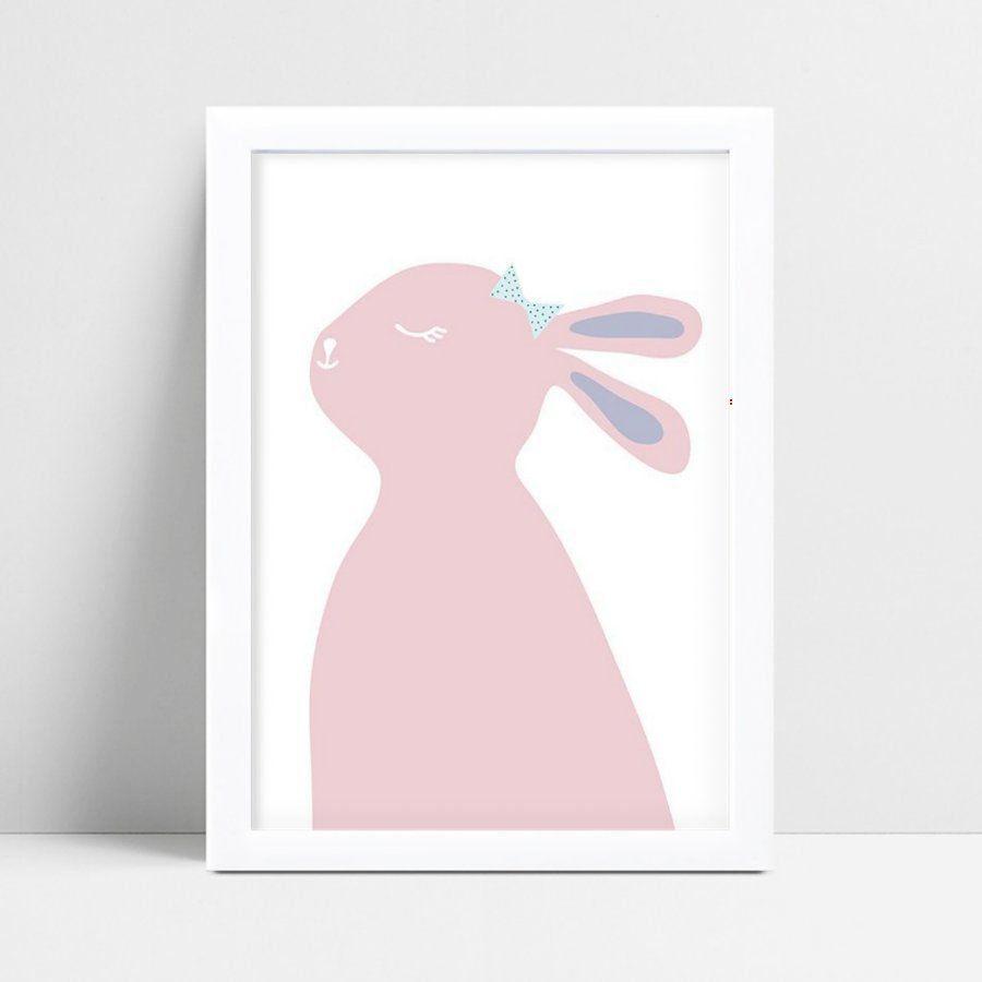 quadro decoração de quarto infantil coelho rosa