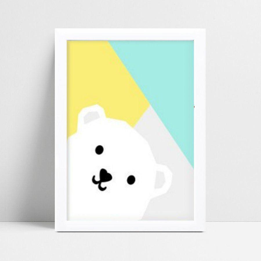 quadro decoração de quarto infantil colorido urso branco