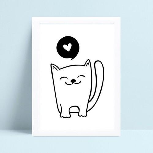 quadro decoração de quarto infantil desenho gato p&b