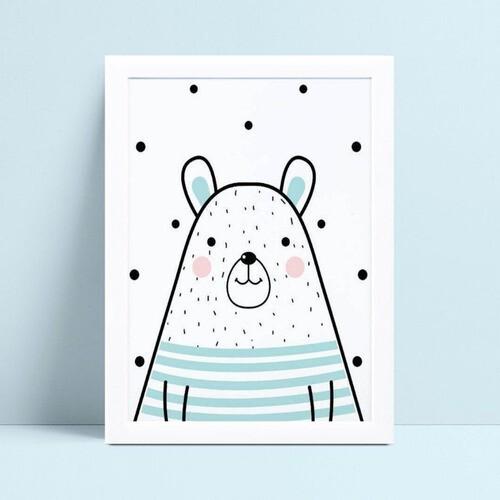 quadro decoração de quarto infantil desenho urso azul