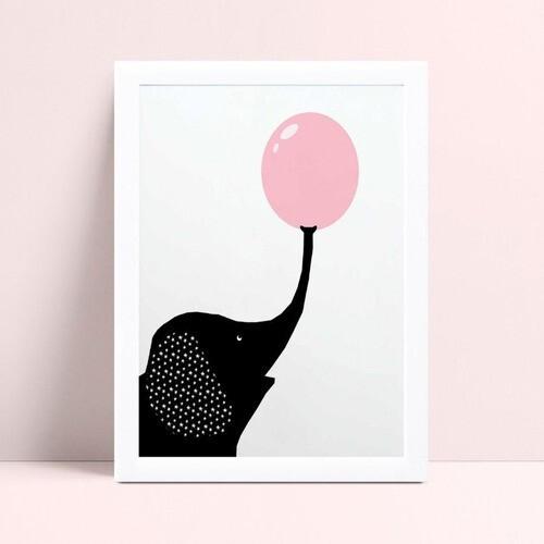 quadro decoração de quarto infantil elefante preto bola rosa
