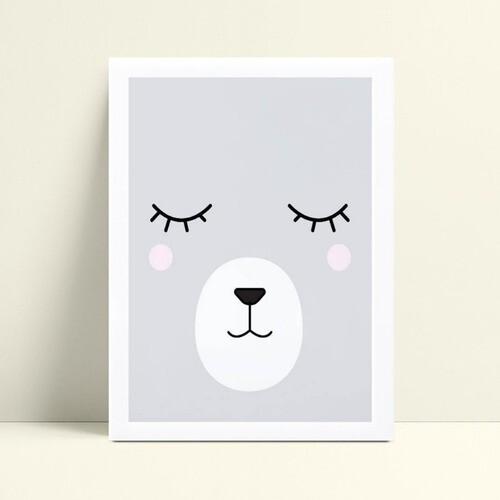 quadro decoração de quarto infantil face urso cinza
