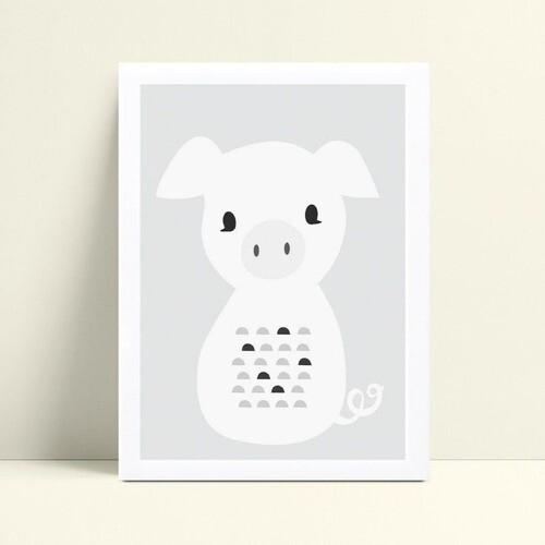 quadro decoração de quarto infantil filhote porco branco