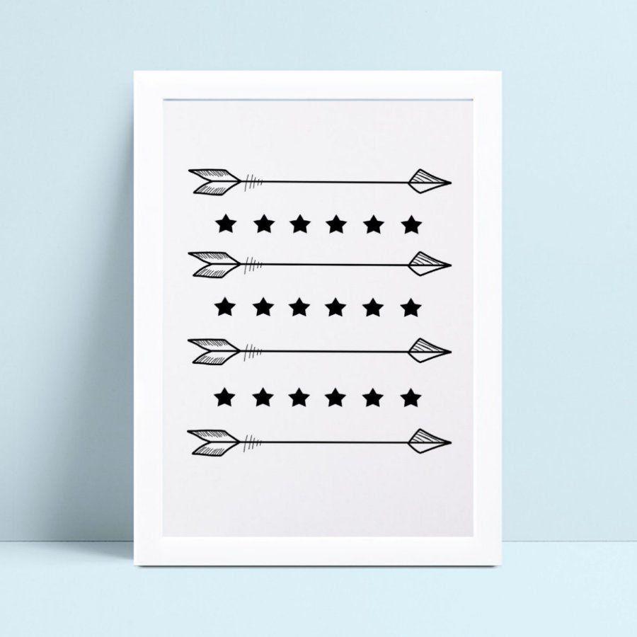 quadro decoração de quarto infantil flechas estrelas