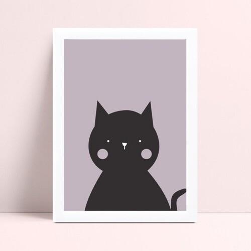 quadro decoração de quarto infantil gato