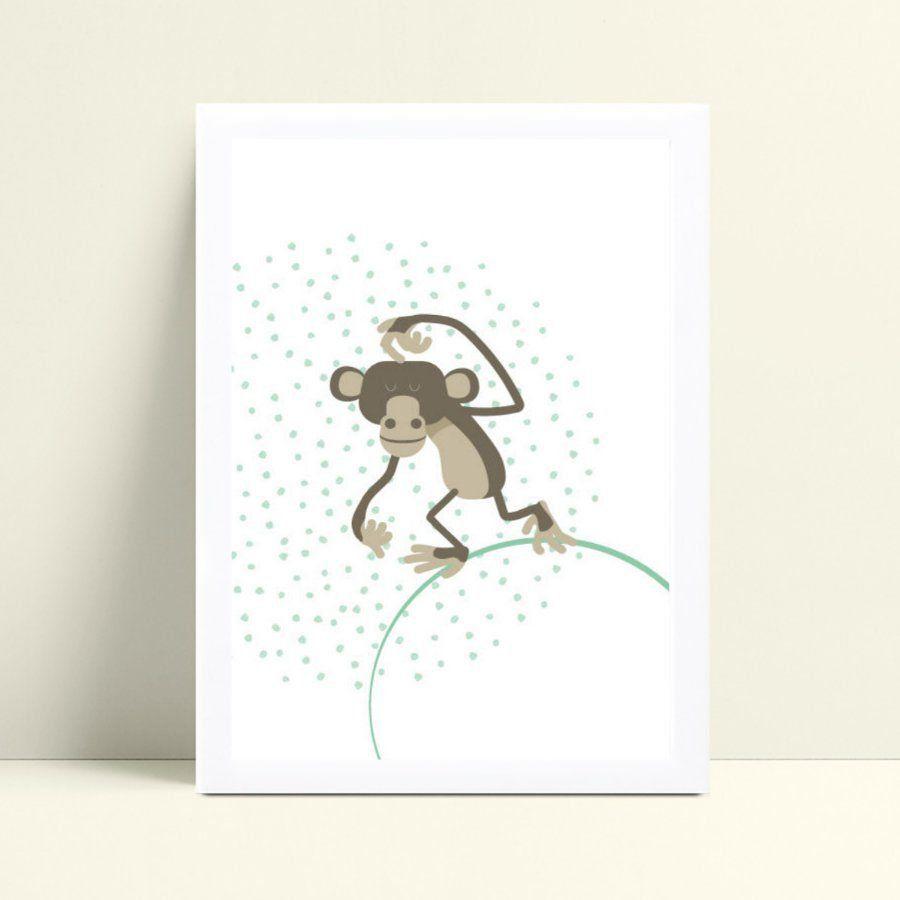 quadro decoração de quarto infantil macaco
