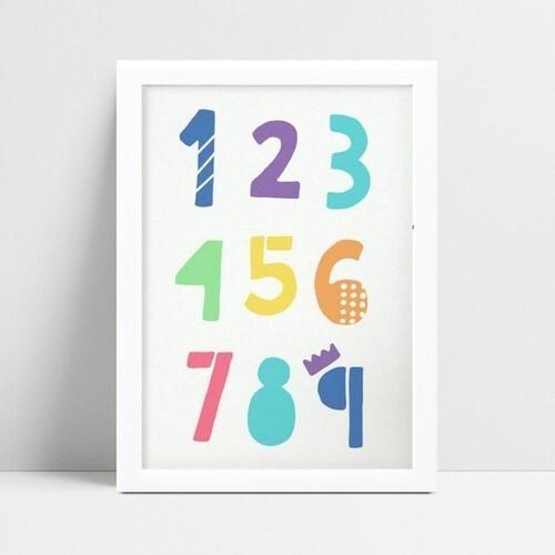 quadro decoração de quarto infantil números coloridos