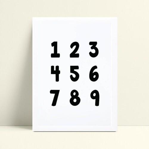 quadro decoração de quarto infantil números preto