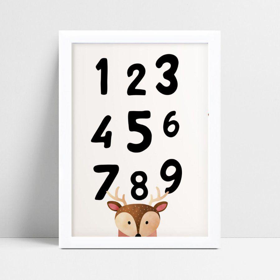 quadro decoração de quarto infantil números rena