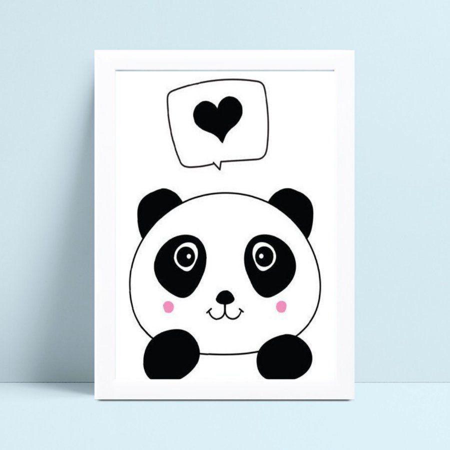 quadro decoração de quarto infantil panda coração preto