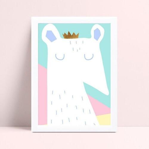quadro decoração de quarto infantil rato branco coroa