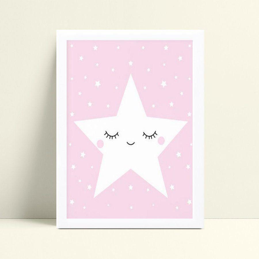 quadro decoração de quarto infantil rosa estrela branca