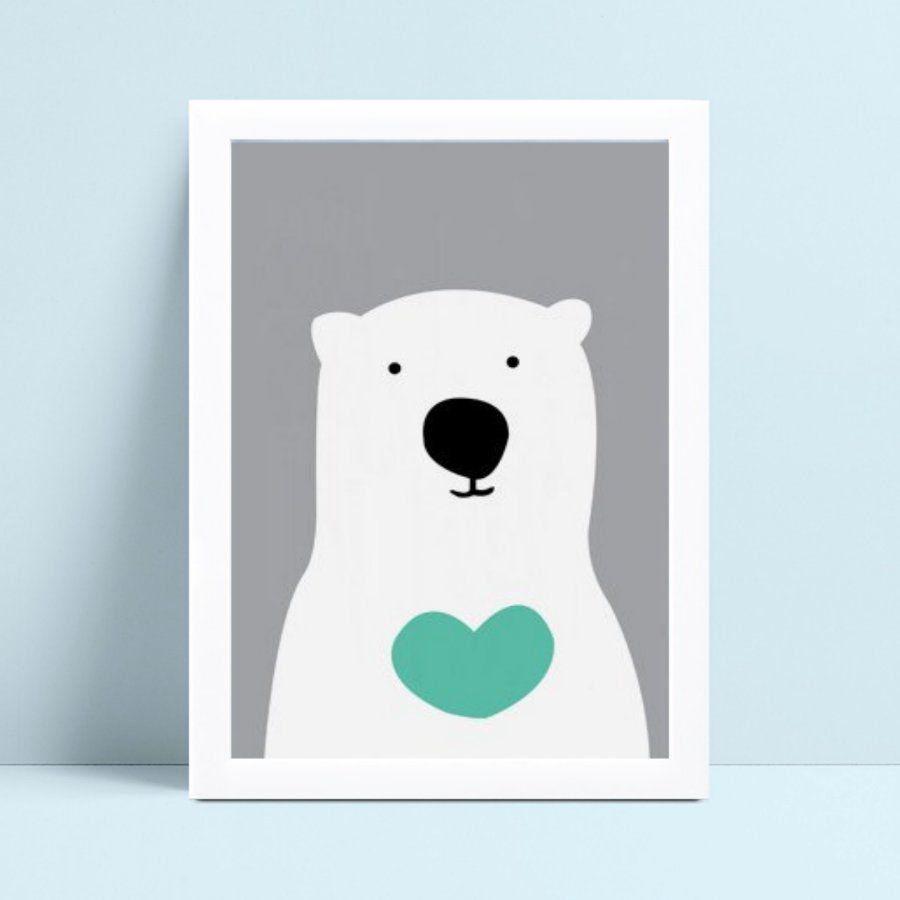 quadro decoração de quarto infantil urso branco