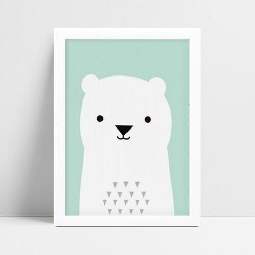 quadro decoração de quarto infantil urso branco e verde