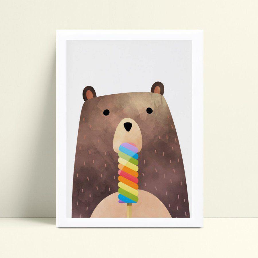 quadro decoração de quarto infantil urso picolé colorido
