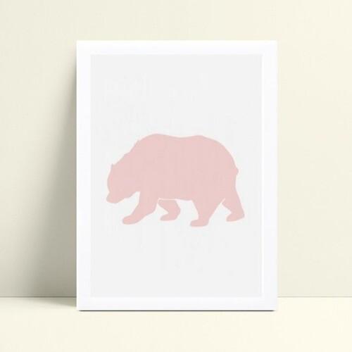 quadro decoração de quarto infantil urso polar rosa