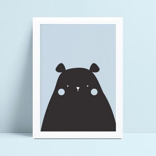 quadro decoração de quarto infantil urso preto e azul