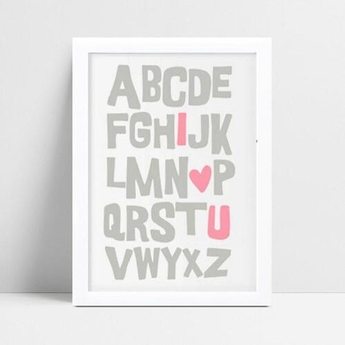 Quadro Decoração Infantil alfabeto cinza & rosa