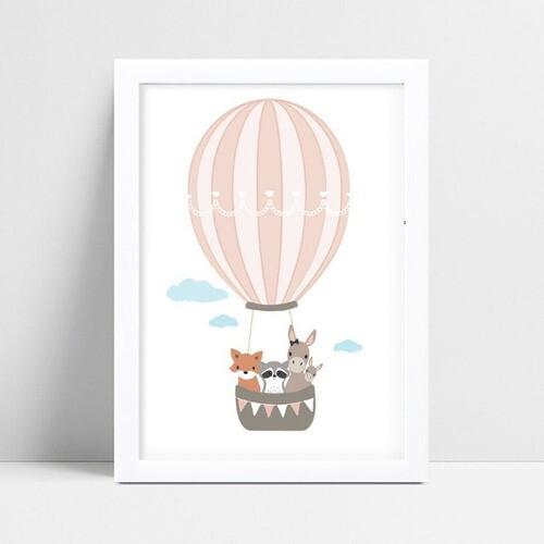 Quadro Decoração Infantil animais no balão rosa