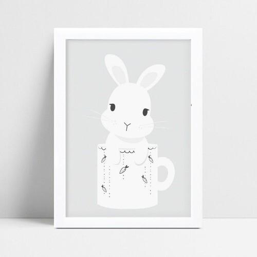Quadro Decoração Infantil animal coelho branco caneca