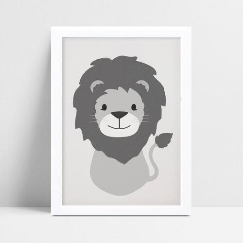 Quadro Decoração Infantil animal filhote leão cinza