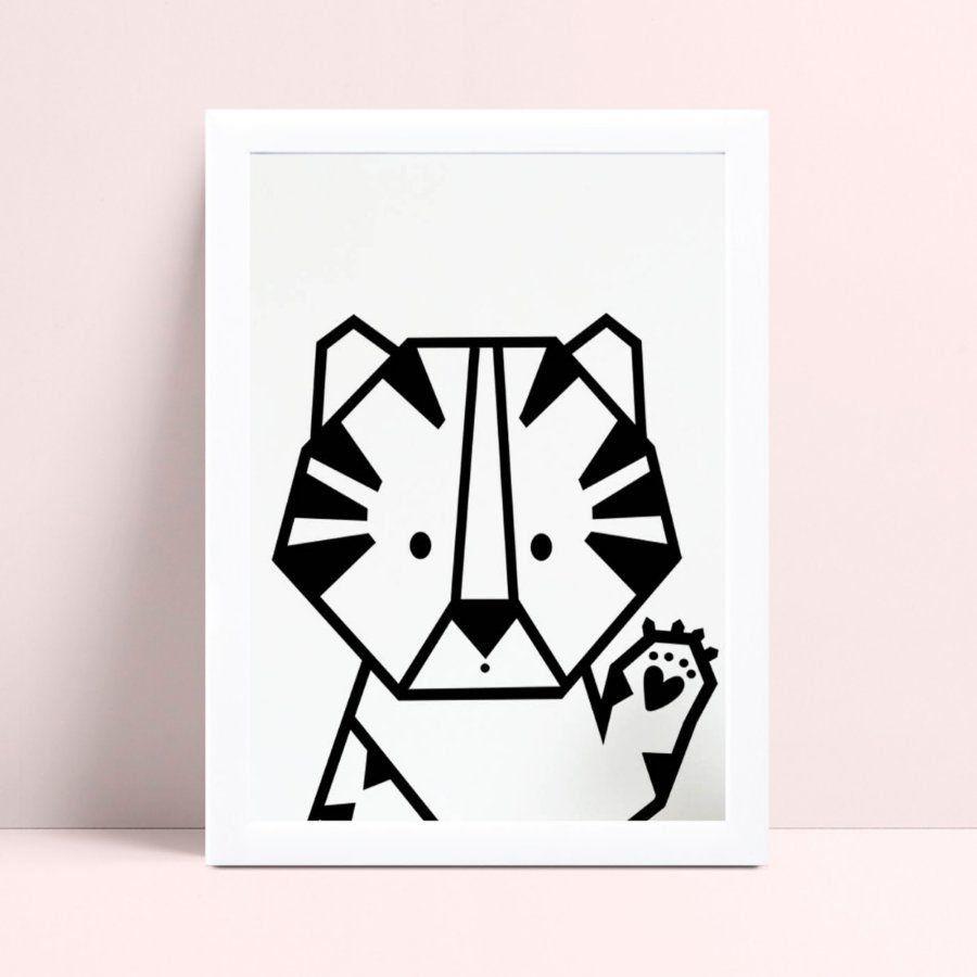 Quadro Decoração Infantil animal tigre geométrico p&b