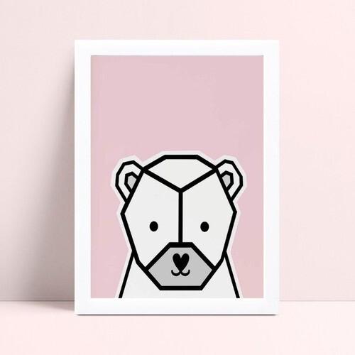 Quadro Decoração Infantil animal urso geométrico