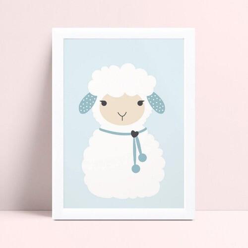 Quadro Decoração Infantil azul menino ovelha branca