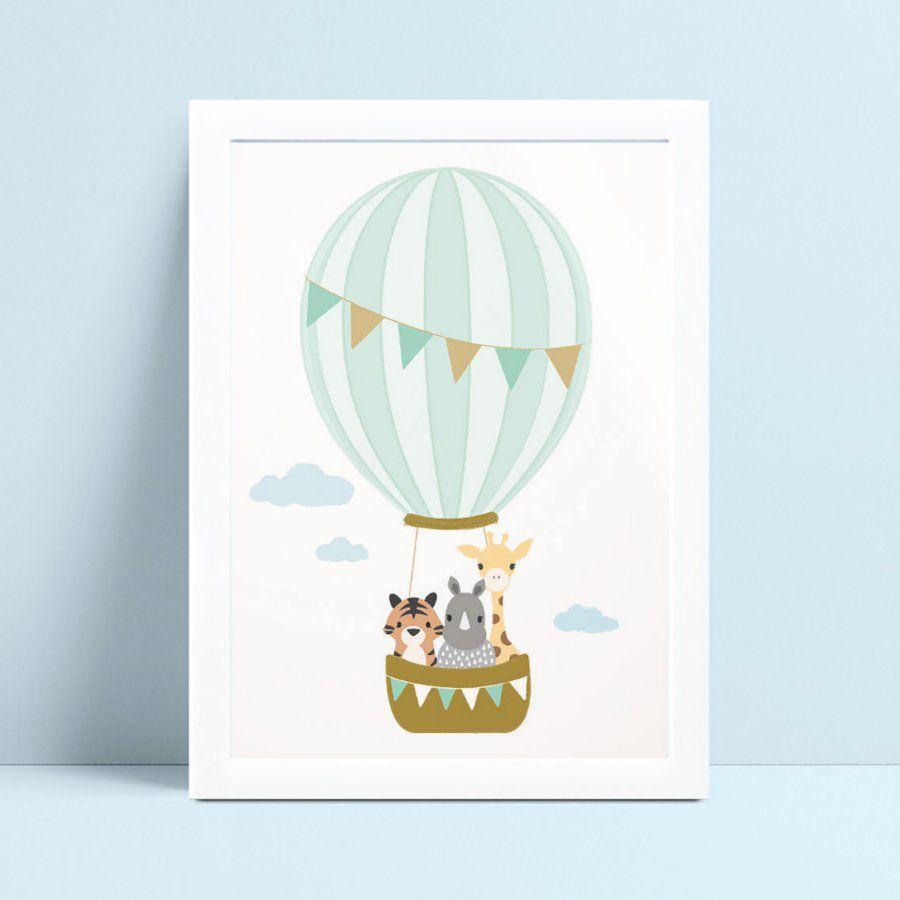 Quadro Decoração Infantil balão animais no cesto
