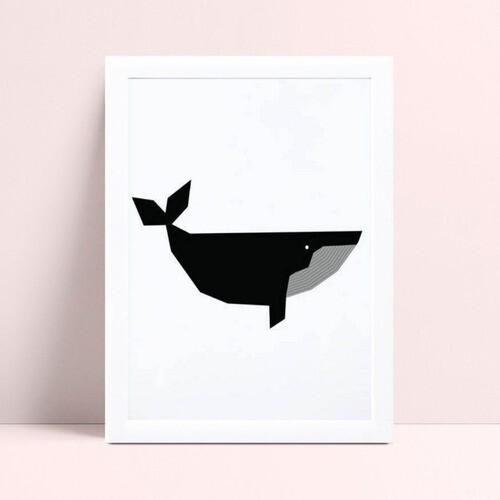 Quadro Decoração Infantil baleia preta